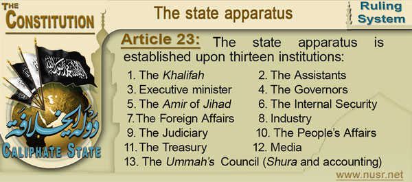 Article 23:  The state apparatus is established upon thirteen institutions: 1.	The Khalifah (Leader of the State) 2.	The Assistants (delegated ministers) 3.	Executive minister 4.	The Governors 5.	The Amir of Jihad 6.	The Internal Security 7.	The Foreign Affairs 8.	Industry 9.	The Judiciary 10.	The People's Affairs (administrative apparatus) 11.	The Treasury (Bayt Al-Mal) 12.	Media 13.	The Ummah's  Council (Shura and accounting)